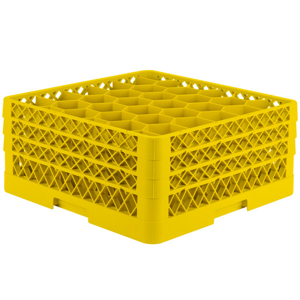 """Vollrath TR12HHH Traex® Rack Max Full-Size Yellow 30-Compartment 7 7/8"""" Glass Rack"""