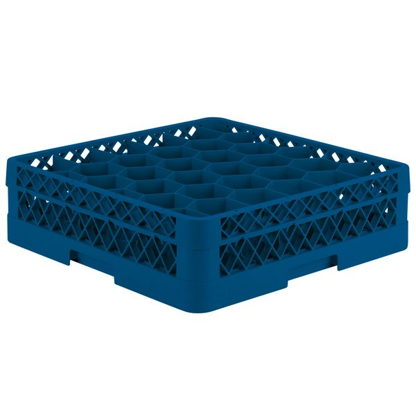 "Vollrath TR12A Traex® Rack Max Full-Size Royal Blue 30-Compartment 4 13/16"" Glass Rack with Open Rack Extender On Top Main Image 1"