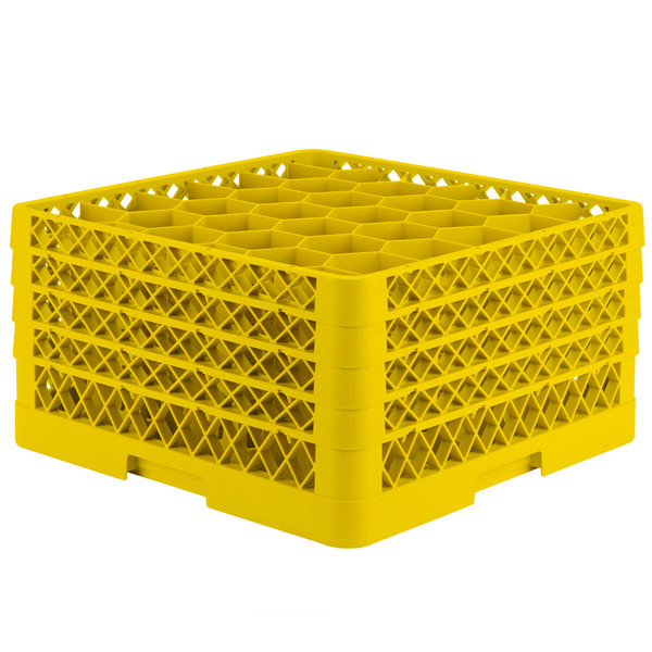 """Vollrath TR12HHHA Traex® Rack Max Full-Size Yellow 30-Compartment 9 7/16"""" Glass Rack with Open Rack Extender On Top"""