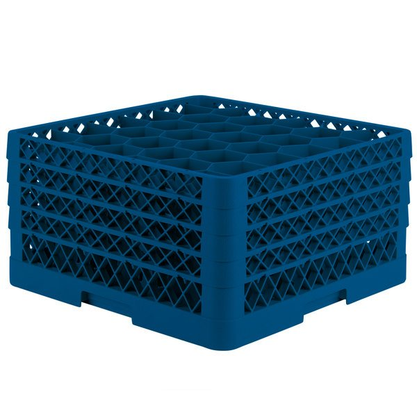 "Vollrath TR12HHHA Traex® Rack Max Full-Size Royal Blue 30-Compartment 9 7/16"" Glass Rack with Open Rack Extender On Top"