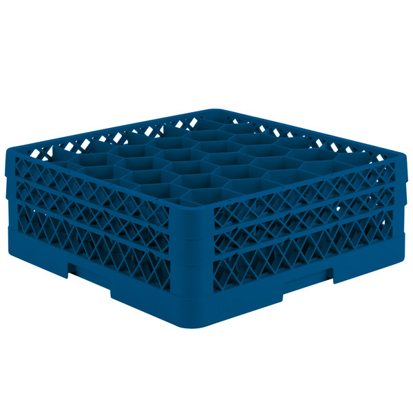 "Vollrath TR12HH Traex® Rack Max Full-Size Royal Blue 30-Compartment 6 3/8"" Glass Rack"