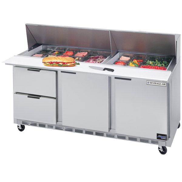 "Beverage Air SPED72HC-12-2 72"" 2 Door 2 Drawer Refrigerated Sandwich Prep Table"