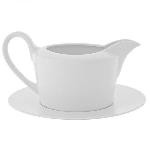 10 Strawberry Street AUR-25 Aurora Square 16 oz. White Porcelain Gravy Boat - 8/Case