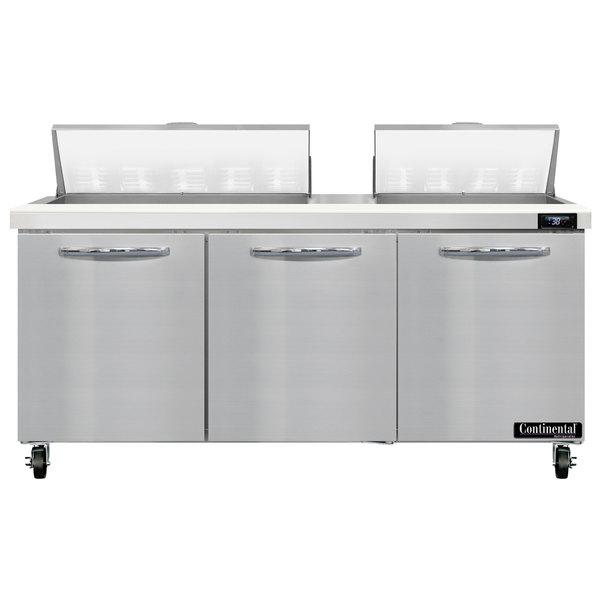 "Continental Refrigerator SW72-18 72"" 3 Door Refrigerated Sandwich Prep Table Main Image 1"