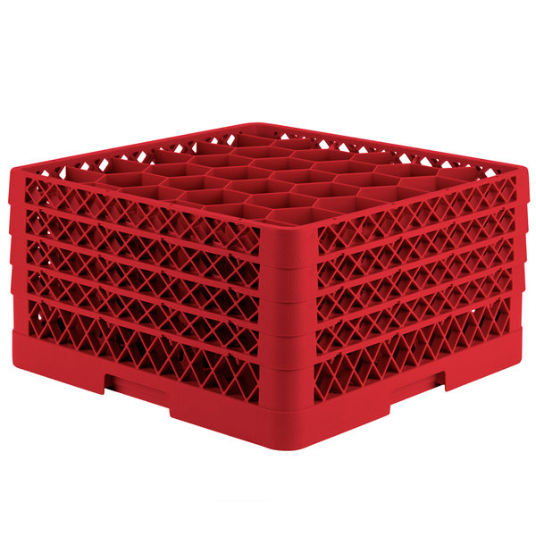 "Vollrath TR12HHHA Traex® Rack Max Full-Size Red 30-Compartment 9 7/16"" Glass Rack with Open Rack Extender On Top Main Image 1"