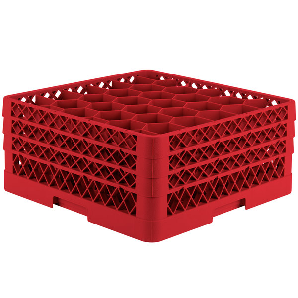 """Vollrath TR12HHH Traex® Rack Max Full-Size Red 30-Compartment 7 7/8"""" Glass Rack Main Image 1"""