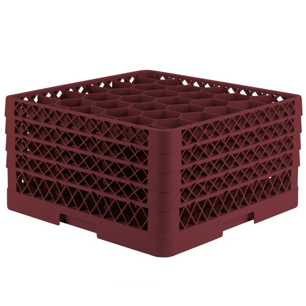 "Vollrath TR12HHHH Traex® Rack Max Full-Size Burgundy 30-Compartment 9 7/16"" Glass Rack"