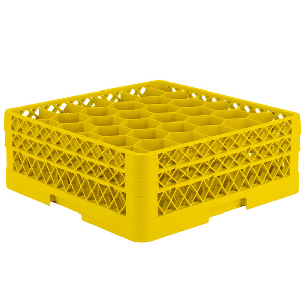 "Vollrath TR12HH Traex® Rack Max Full-Size Yellow 30-Compartment 6 3/8"" Glass Rack Main Image 1"