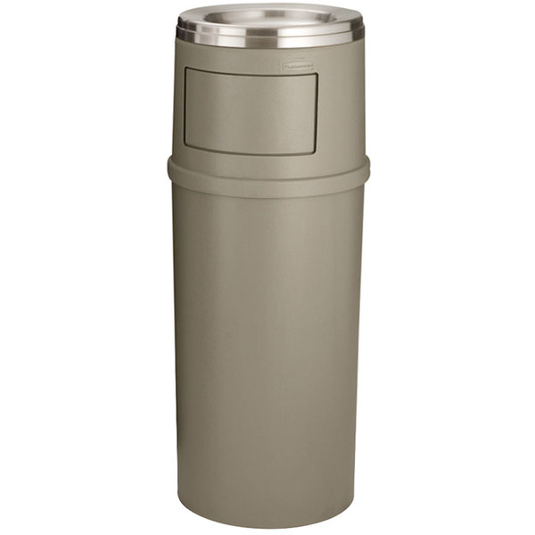 Rubbermaid FG818488BEIG Classic Beige Round Fiberglass Ash/Trash Container with Doors and Retainer Bands 15 Gallon