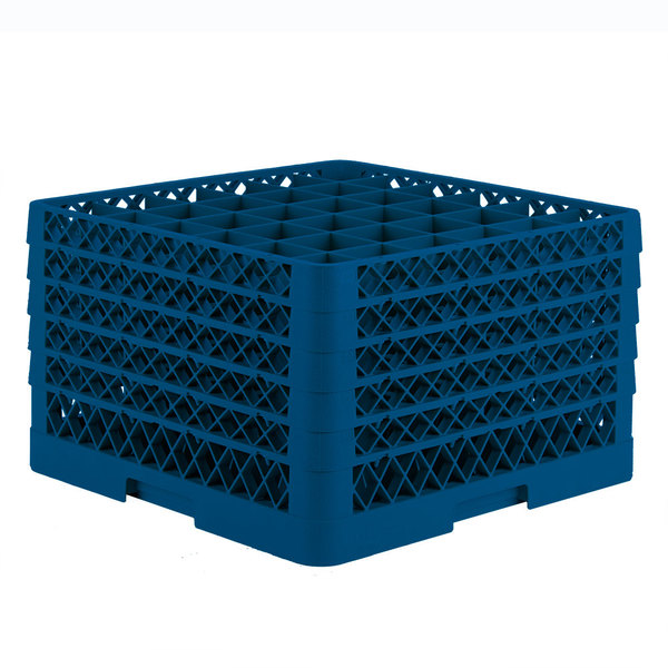 """Vollrath TR7CCCCA Traex® Full-Size Royal Blue 36-Compartment 11"""" Glass Rack with Open Rack Extender On Top"""