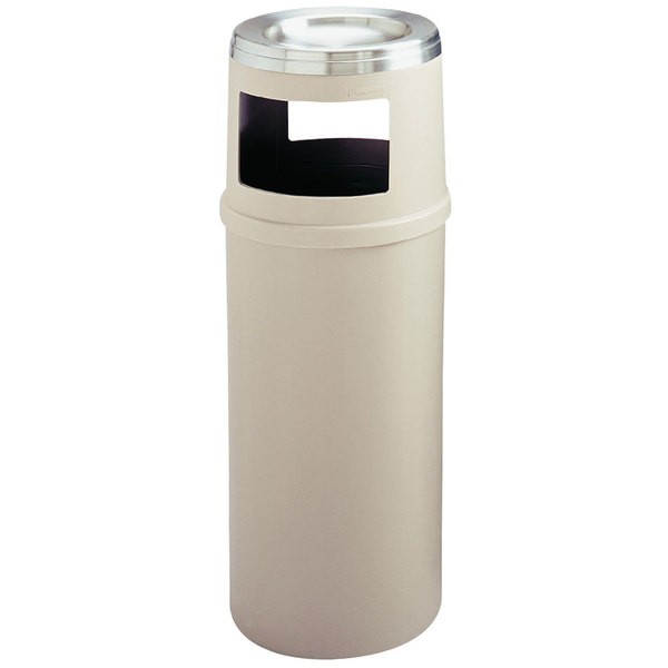 Rubbermaid FG818588BEIG Classic Beige Round Fiberglass Ash/Trash Container with Retainer Bands 15 Gallon