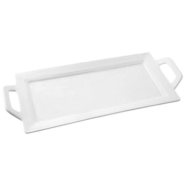 """10 Strawberry Street WTR-12EMBHNDLPLTR Whittier 12"""" x 5"""" White Embossed Rectangular Porcelain Handled Platter - 36/Case"""