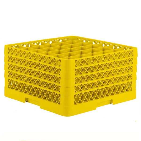 """Vollrath TR7CCCC Traex® Full-Size Yellow 36-Compartment 9 7/16"""" Glass Rack Main Image 1"""