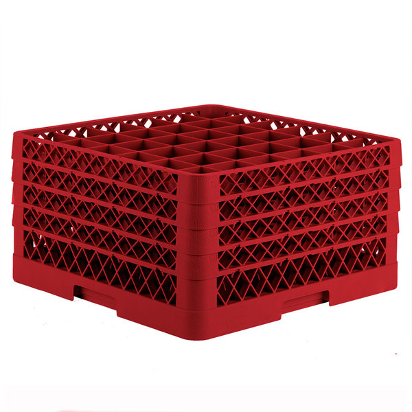 "Vollrath TR7CCCC Traex® Full-Size Red 36-Compartment 9 7/16"" Glass Rack"