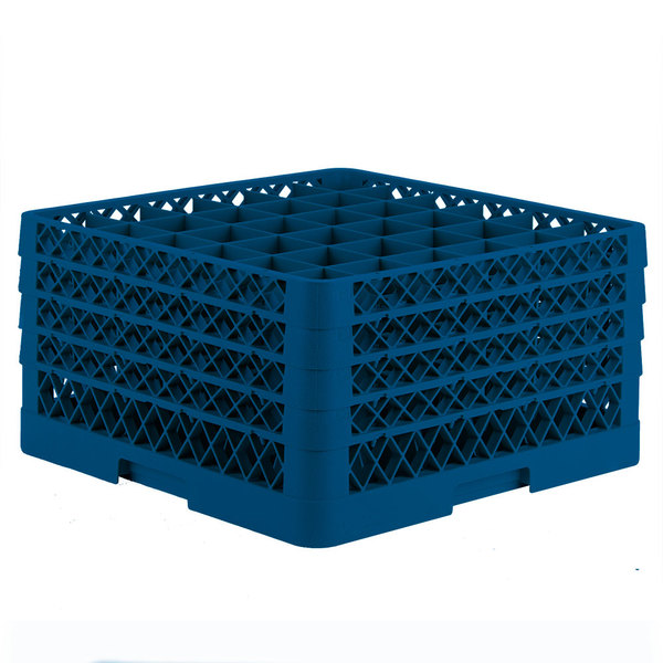 "Vollrath TR7CCCC Traex® Full-Size Royal Blue 36-Compartment 9 7/16"" Glass Rack"