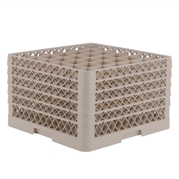 """Vollrath TR7CCCCA Traex® Full-Size Beige 36-Compartment 11"""" Glass Rack with Open Rack Extender On Top"""