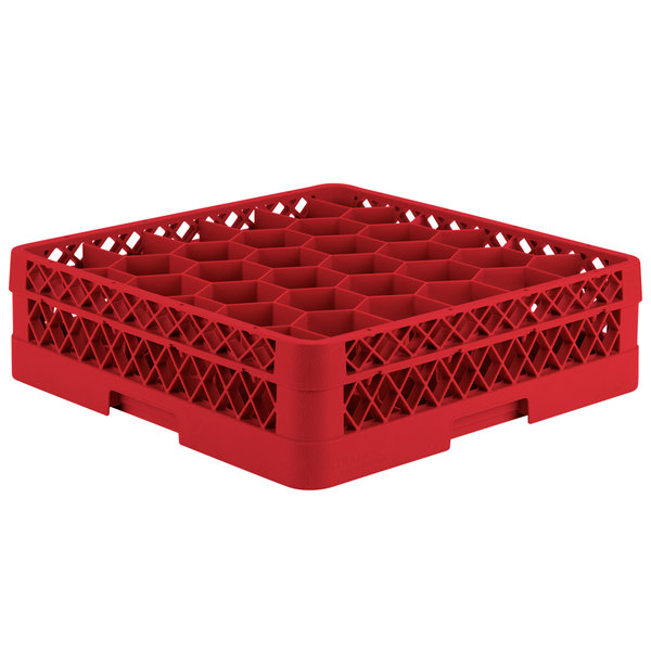 """Vollrath TR12H Traex® Rack Max Full-Size Red 30-Compartment 4 13/16"""" Glass Rack"""