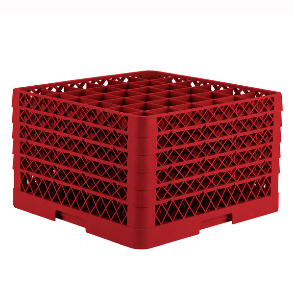 """Vollrath TR7CCCCA Traex® Full-Size Red 36-Compartment 11"""" Glass Rack with Open Rack Extender On Top"""