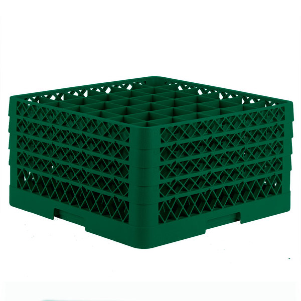 """Vollrath TR7CCCC Traex® Full-Size Green 36-Compartment 9 7/16"""" Glass Rack Main Image 1"""