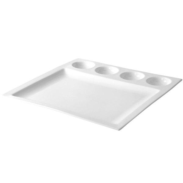 """10 Strawberry Street WTR-4RDDSHPLT Whittier 12 3/4"""" White Square Porcelain Compartment Plate - 8/Case"""