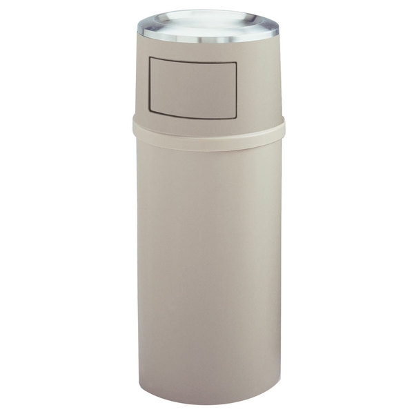 Rubbermaid FG818088BEIG Classic Beige Round Fiberglass Ash/Trash Container with Doors and Retainer Bands 25 Gallon