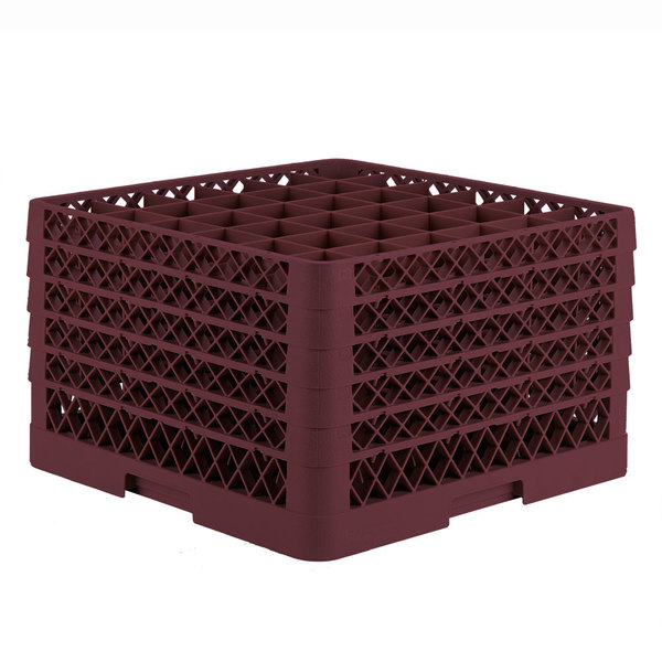 """Vollrath TR7CCCCA Traex® Full-Size Burgundy 36-Compartment 11"""" Glass Rack with Open Rack Extender On Top"""