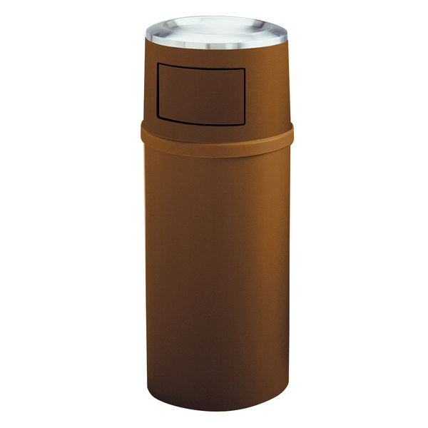 Rubbermaid FG818088BRN Classic Brown Round Fiberglass Ash/Trash Container with Doors and Retainer Bands 25 Gallon