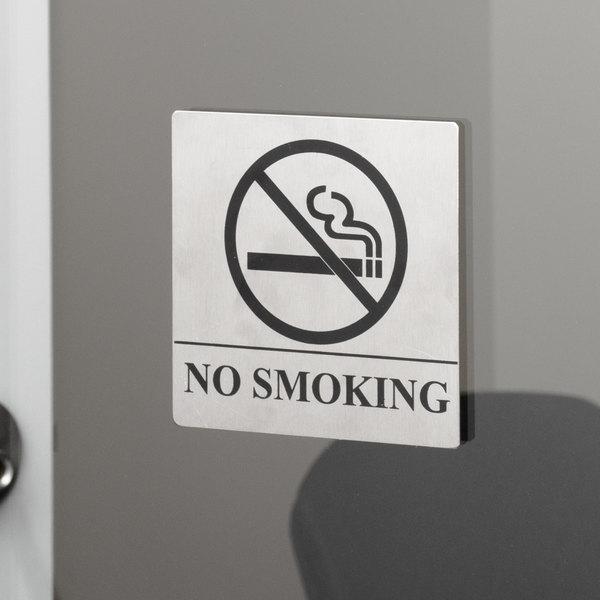"Tablecraft B14 No Smoking Sign - Stainless Steel, 5"" x 5"""