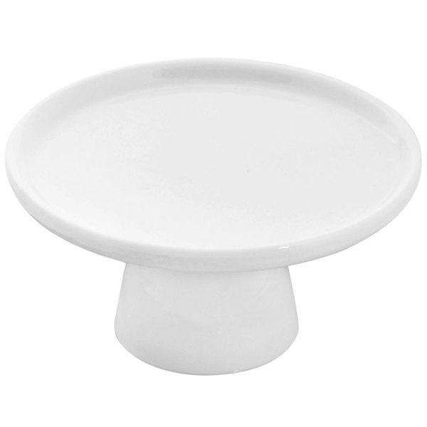 "10 Strawberry Street WTR-4CAKESTAND Whittier 4"" White Porcelain Footed Cake Stand - 12/Case"
