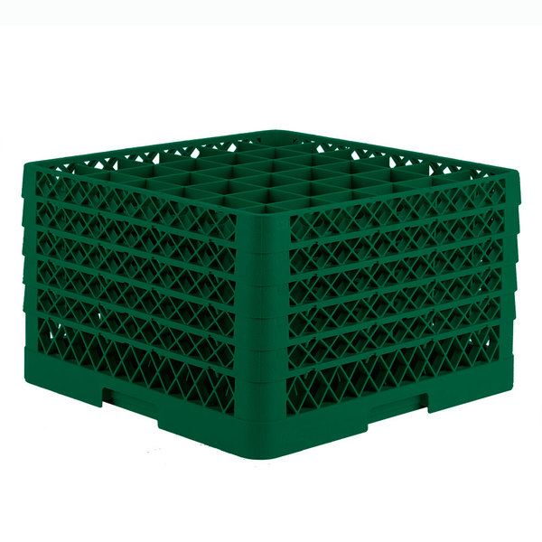 """Vollrath TR7CCCCA Traex® Full-Size Green 36-Compartment 11"""" Glass Rack with Open Rack Extender On Top Main Image 1"""