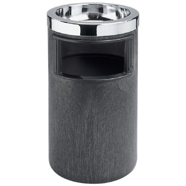 Rubbermaid FG258600BLA Classic Black Floor Smoking Ash/Trash with Urn, Metal Ashtray Top and Metal Liner Main Image 1