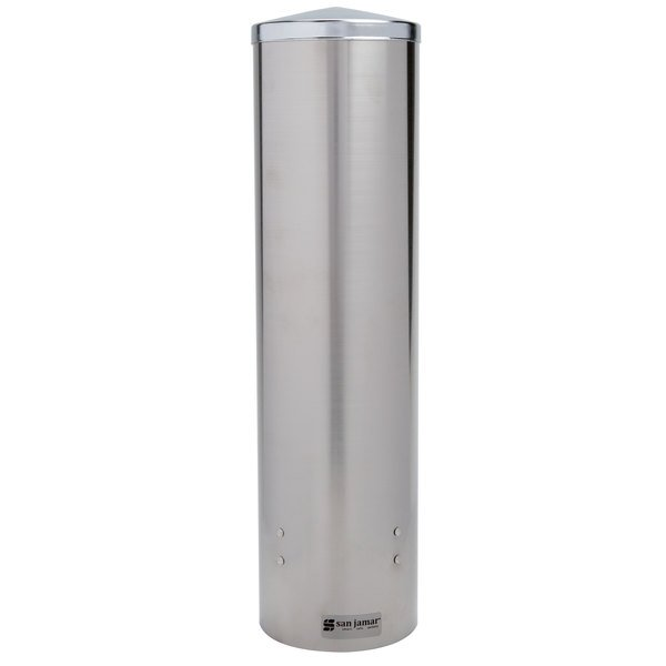 """San Jamar C3450SS Pull-Type Stainless Steel 12 - 24 oz. Flat / 8 - 12 oz. Cone Cup Dispenser - 16"""" Long"""