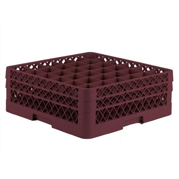 "Vollrath TR7CC Traex® Full-Size Burgundy 36-Compartment 6 3/8"" Glass Rack"