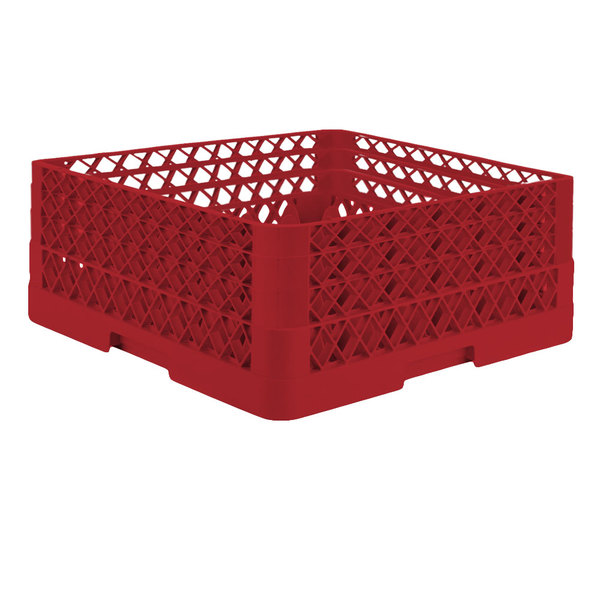 """Vollrath TR7CCA Traex® Full-Size Red 36-Compartment 7 7/8"""" Glass Rack with Open Rack Extender On Top"""