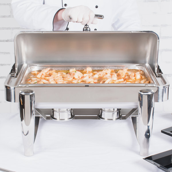 Vollrath T3600 D-Lux 8.5 Qt. Stainless Steel Dripless Roll Top Chafer Main Image 3