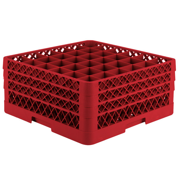 "Vollrath TR7CCC Traex® Full-Size Red 36-Compartment 7 7/8"" Glass Rack"