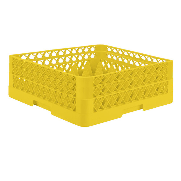 """Vollrath TR7CA Traex® Full-Size Yellow 36-Compartment 6 3/8"""" Glass Rack with Open Rack Extender On Top"""