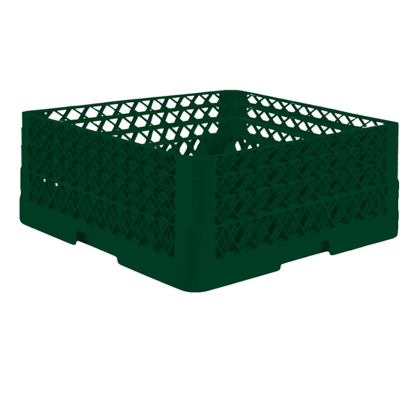 "Vollrath TR7CCA Traex® Full-Size Green 36-Compartment 7 7/8"" Glass Rack with Open Rack Extender On Top Main Image 1"