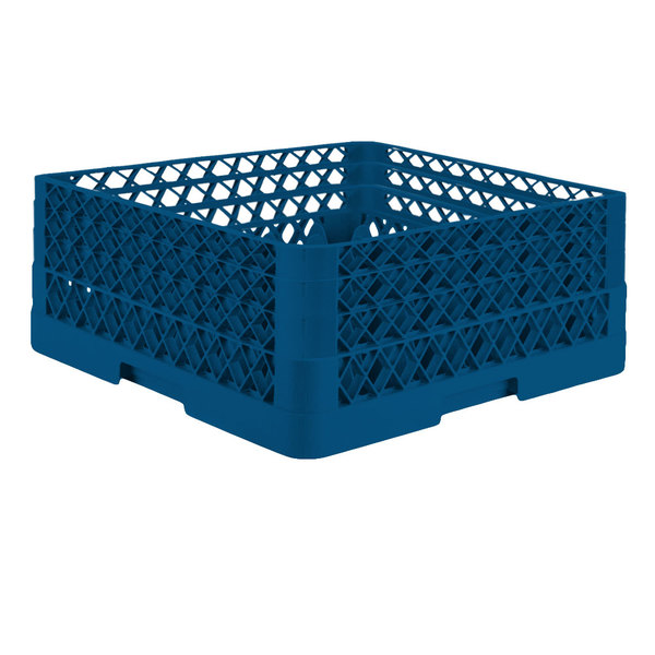 """Vollrath TR7CCA Traex® Full-Size Royal Blue 36-Compartment 7 7/8"""" Glass Rack with Open Rack Extender On Top Main Image 1"""