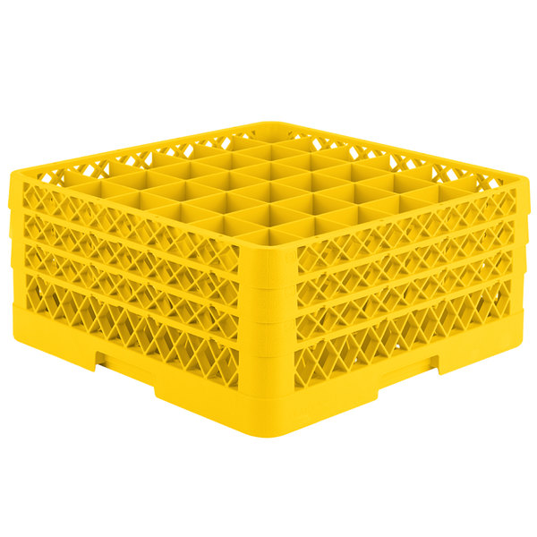 """Vollrath TR7CCC Traex® Full-Size Yellow 36-Compartment 7 7/8"""" Glass Rack"""
