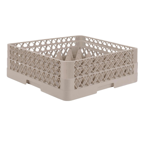 """Vollrath TR7CA Traex® Full-Size Beige 36-Compartment 6 3/8"""" Glass Rack with Open Rack Extender On Top"""
