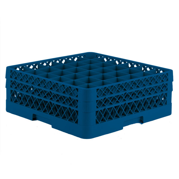 """Vollrath TR7CC Traex® Full-Size Royal Blue 36-Compartment 6 3/8"""" Glass Rack"""