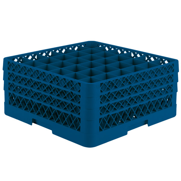 """Vollrath TR7CCC Traex® Full-Size Royal Blue 36-Compartment 7 7/8"""" Glass Rack"""