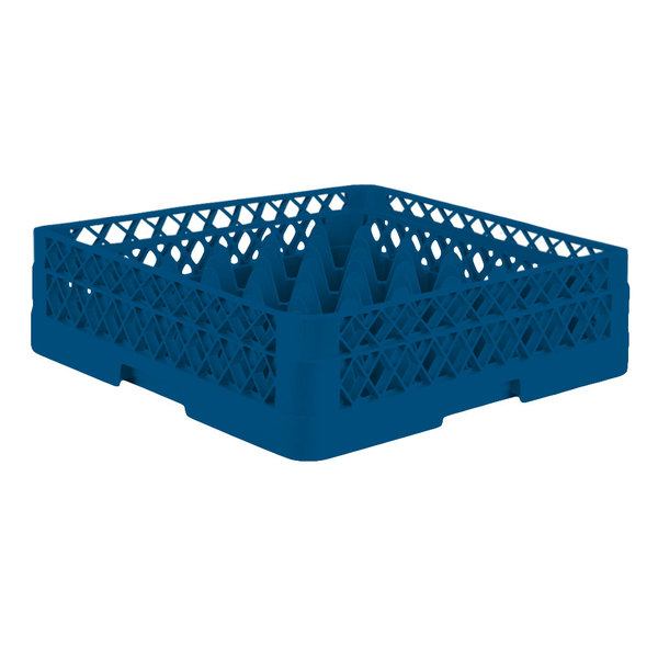 """Vollrath TR7A Traex® Full-Size Royal Blue 36-Compartment 4 13/16"""" Glass Rack with Open Rack Extender On Top"""