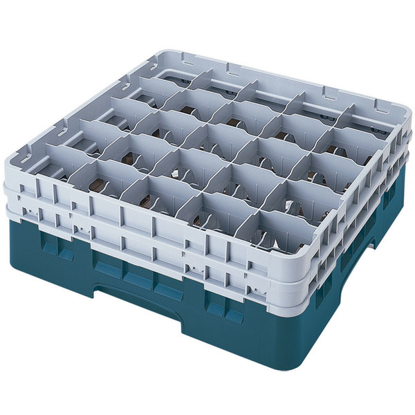 """Cambro 25S1214414 Camrack 12 5/8"""" High Customizable Teal 25 Compartment Glass Rack"""