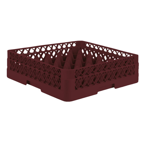 """Vollrath TR7A Traex® Full-Size Burgundy 36-Compartment 4 13/16"""" Glass Rack with Open Rack Extender On Top"""