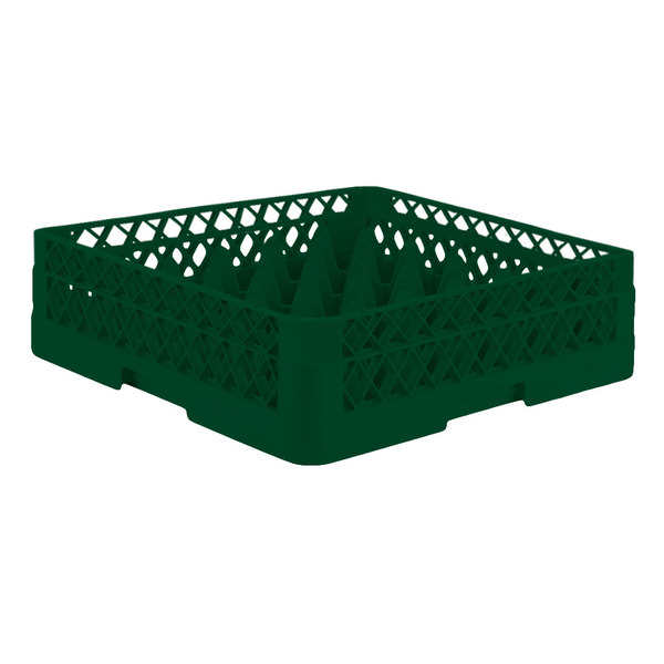 "Vollrath TR7A Traex® Full-Size Green 36-Compartment 4 13/16"" Glass Rack with Open Rack Extender On Top"