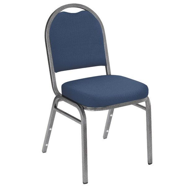 """National Public Seating 9204-SV Dome Style Stack Chair with 2"""" Padded Seat, Silvervein Metal Frame, and Midnight Blue Vinyl Upholstery"""