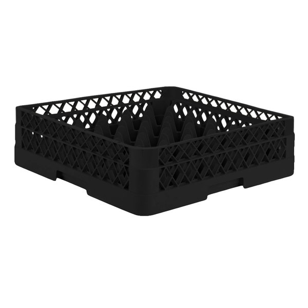 "Vollrath TR7A Traex® Full-Size Black 36-Compartment 4 13/16"" Glass Rack with Open Rack Extender On Top Main Image 1"