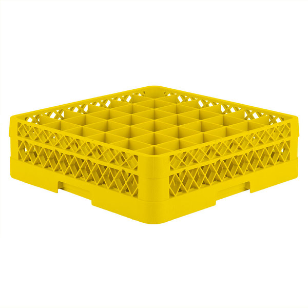 "Vollrath TR7C Traex® Full-Size Yellow 36-Compartment 4 13/16"" Glass Rack"